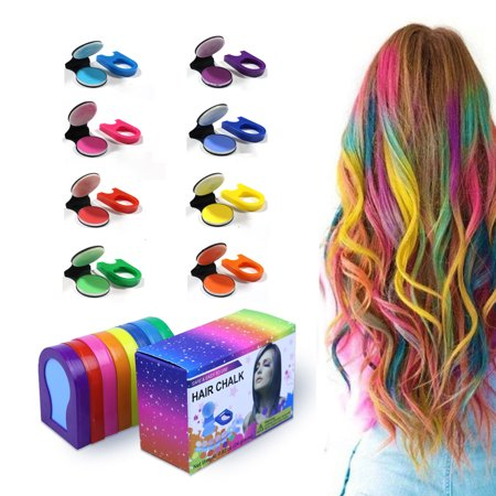 Hair Chalk Temporary Bright Hair Color Dye for Girls Kids, Washable Hair Chalk Set/Kit for Girls New Year Birthday Party Cosplay DIY - 8 Colors