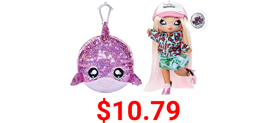 """Na Na Na Surprise 2-in-1 Fashion Doll and Sparkly Sequined Purse Sparkle Series – Krysta Splash, 7.5"""" Surfer Doll"""
