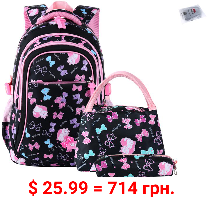 School Backpacks Girls and Boys Backpack with Lunch Bag/Pencil Case for Students between 7-16 Years Old - 3 in 1 Bookbags, Black