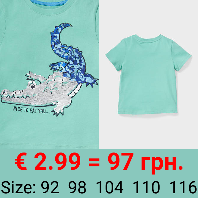 Kurzarmshirt - Bio-Baumwolle - Glanz-Effekt