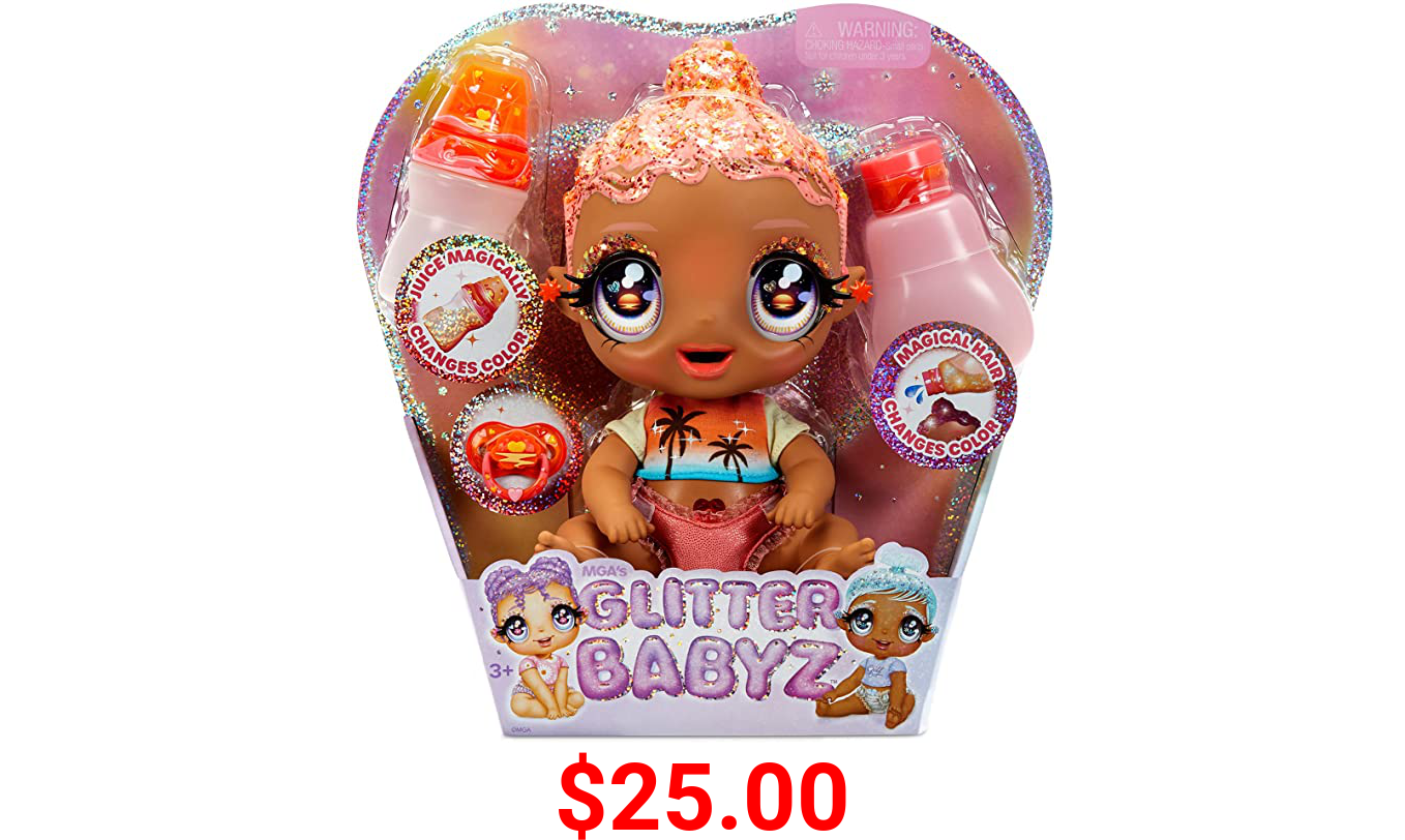 MGA'S Glitter BABYZ Solana Sunburst Baby Doll with 3 Magical Color Changes / Coral Pink Hair Doll with Tropical Sunset ON The Outfit and Reusable Diaper, Bottle and Pacifier / Ages 3+