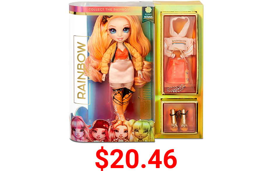Rainbow Surprise Rainbow High Poppy Rowan - Orange Clothes Fashion Doll with 2 Complete Mix & Match Outfits and Accessories, Toys for Kids 6 to 12 Years Old