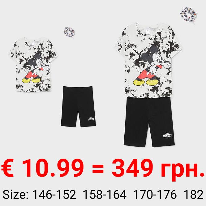 Micky Maus - Set - Kurzarmshirt, Radlerhose und Haargummi