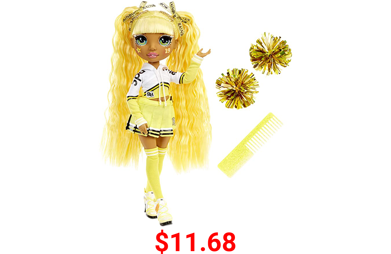Rainbow High Cheer Sunny Madison – Yellow Cheerleader Fashion Doll with Pom Poms and Doll Accessories, Great Gift for Kids 6-12 Years Old