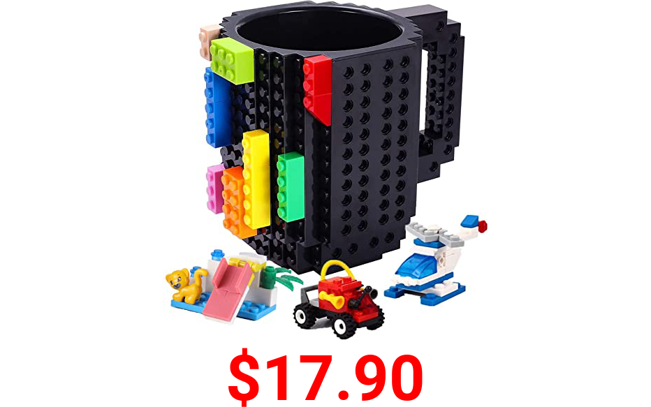 POXIWIN Build-on Brick Mugs,with 3 Packs of Blocks,Creative DIY Building Blocks Cup for Coffee Juice,Fun Mug Compatible with Lego,Novelty Kids Party Cups for Christmas,Black
