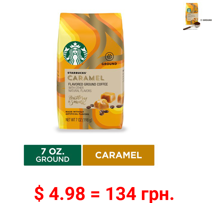 Starbucks Flavored Ground Coffee, Caramel, 7 Oz