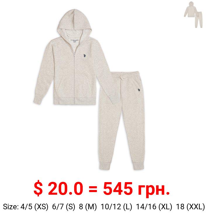 U.S Polo Assn. Boys Fleece Full Zip Hoodie and Joggers 2-Piece Set, Sizes 4-18