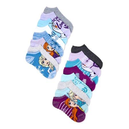 Disney Frozen 2 Girls No Show Socks, 12 Pack + 4 Extra, Sizes S - L