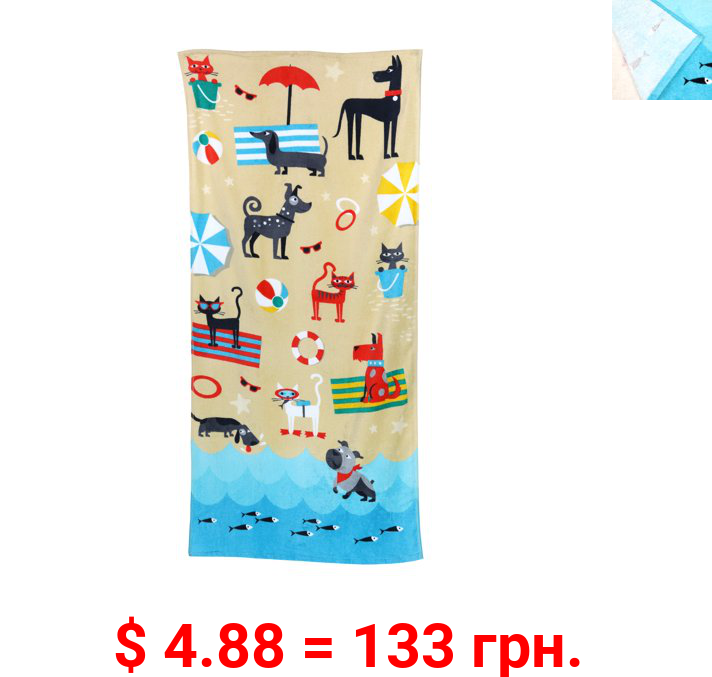 Mainstays Printed Sheared Beach Towel, Dogs