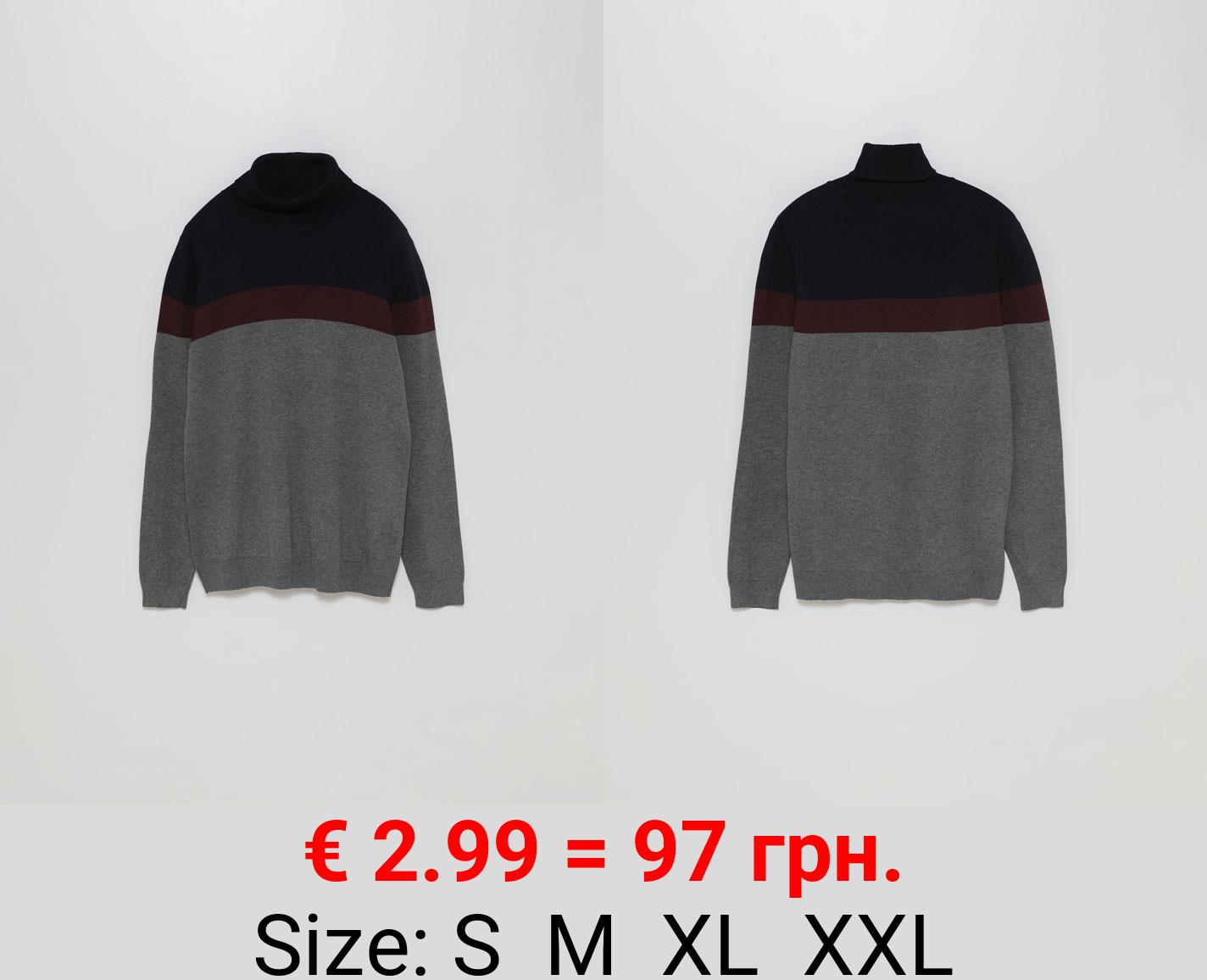 Colour block turtleneck sweater