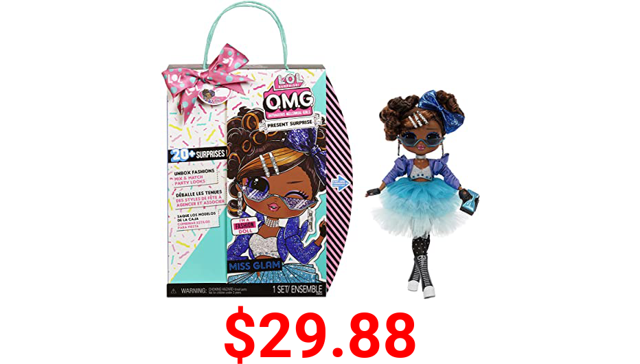 LOL Surprise OMG Present Surprise Fashion Doll Miss Glam with 20 Surprises, 5 Fashion Looks, and Fun Accessories for Birthday Inspired Doll