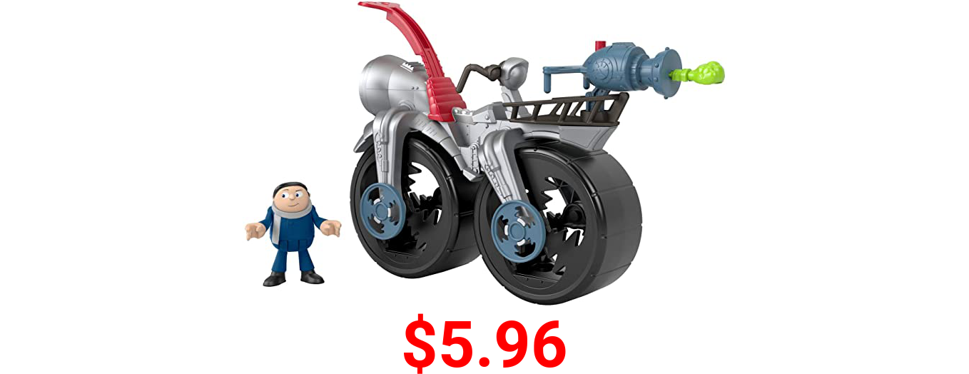 Fisher-Price Imaginext Minions Gru's Rocket Bike, character figure and push-along toy bicycle set for preschool kids ages 3-8 years