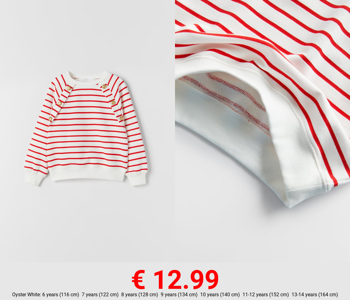 STRIPED SWEATSHIRT WITH BUTTONS