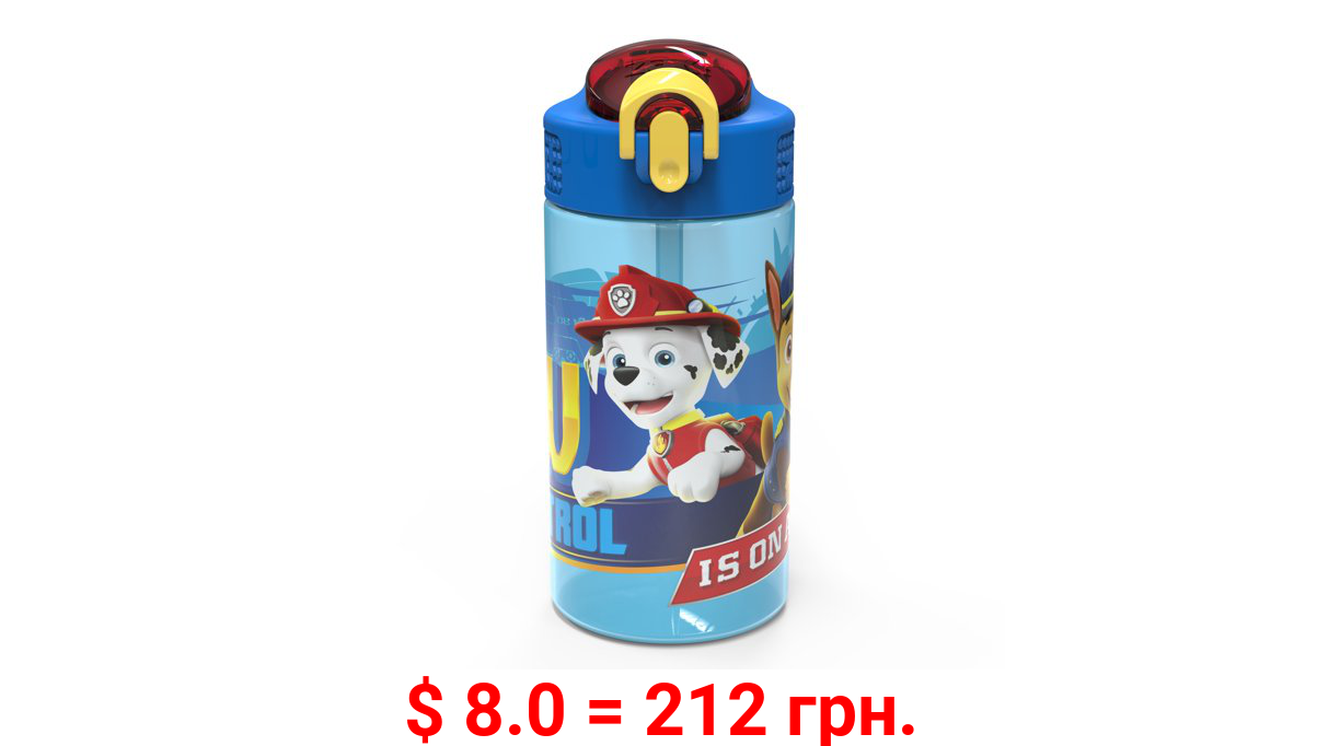 Zak Designs Paw Patrol 16 Ounce Reusable Plastic Water Bottle, Chase and Marshall