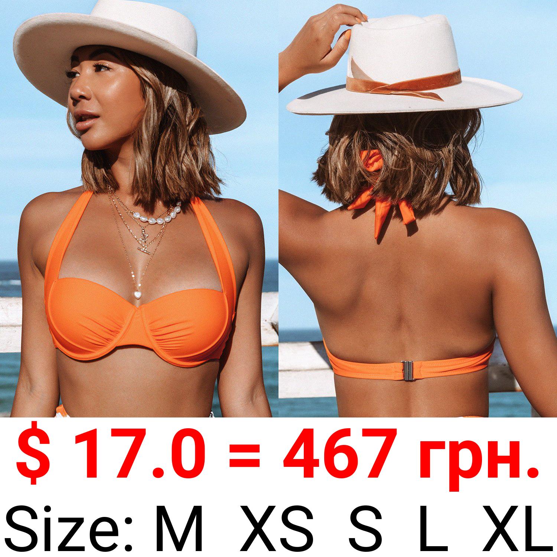 Orange Halter Wide Straps Bikini Top
