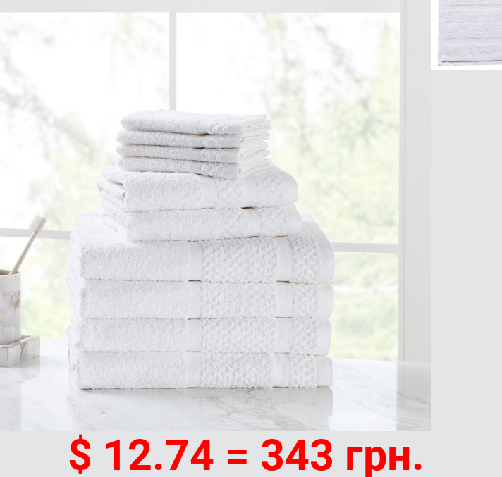 Mainstays Value 10-Piece Cotton Towel Set with Upgraded Softness & Durability, White