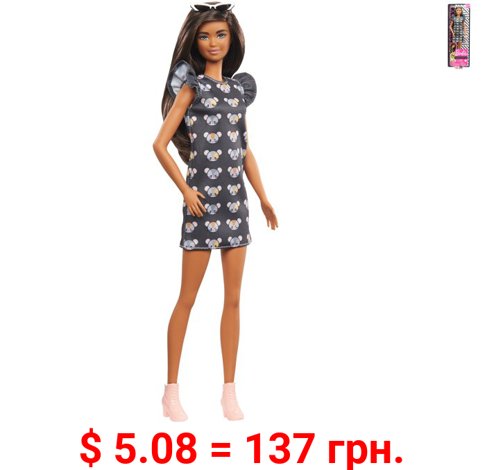 Barbie Fashionistas Doll 140 with Long Brunette Hair Wearing Mouse-Print Dress