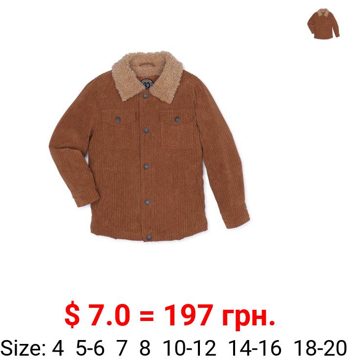 Urban Republic Boys Corduroy Shirt Jacket with Faux Sherpa Lining, Sizes 4-20