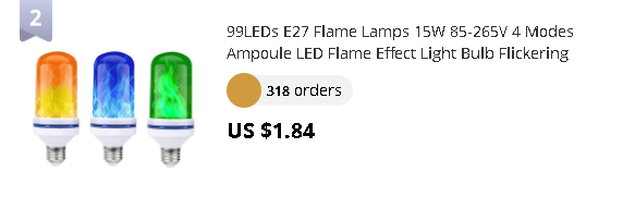 99LEDs E27 Flame Lamps 15W 85-265V 4 Modes Ampoule LED Flame Effect Light Bulb Flickering Emulation Fire Light Yellow/Blue/Green