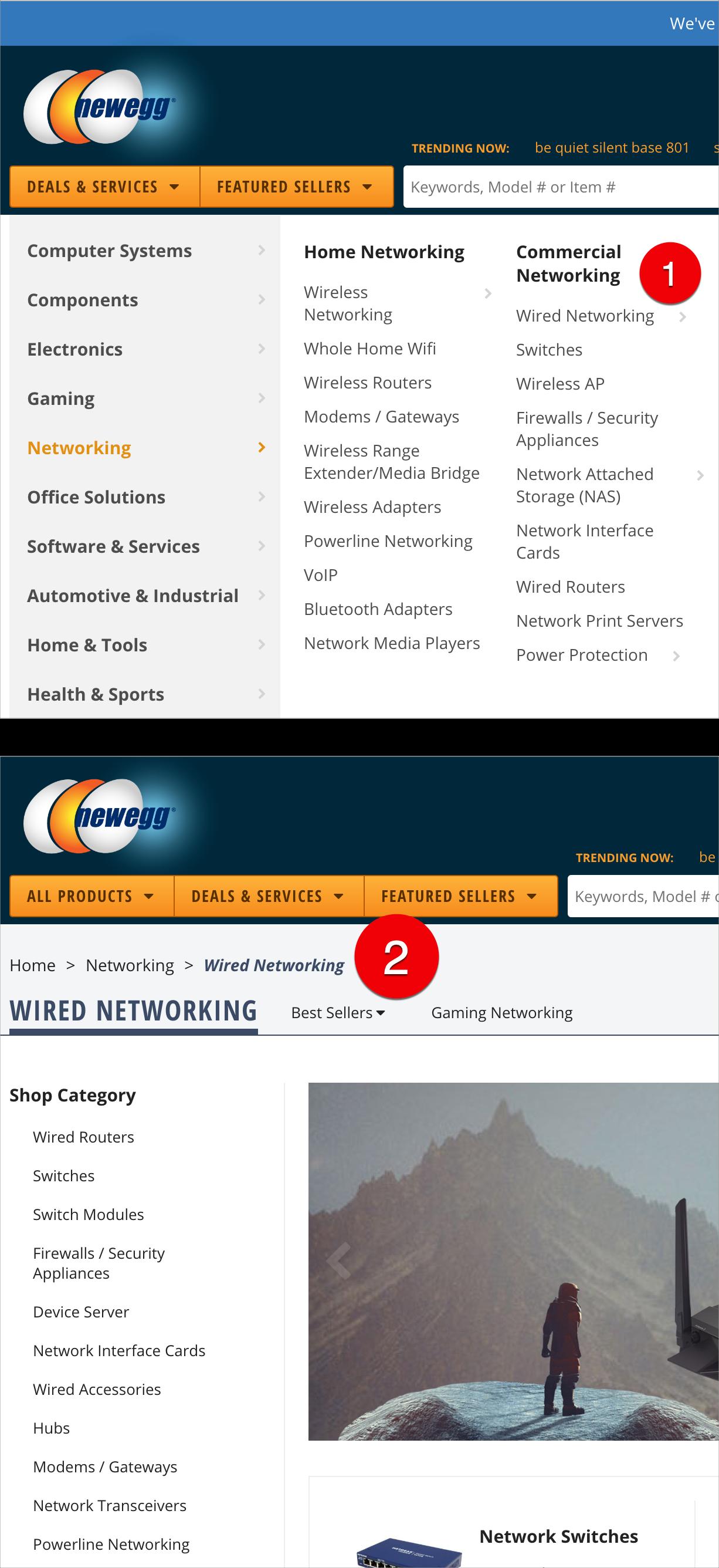 Newegg.com: в мегаменю глобальной навигации (вверху) есть подкатегории, у которых нет собственной страницы - например, Коммерческие сети (1). На странице «Проводная сеть» (внизу) цепочка «хлебные крошки» (2) не включает коммерческие сети, поскольку эта подкатегория не имеет связанной страницы.