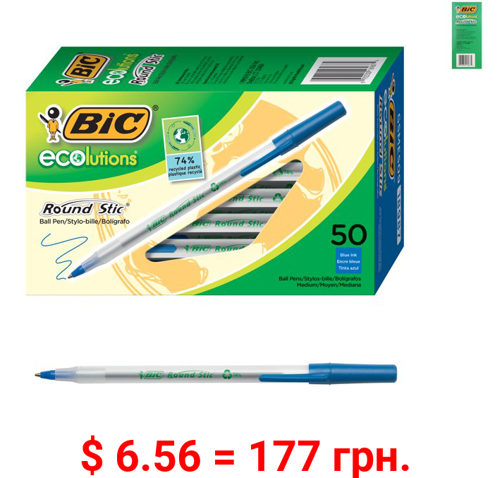 BIC Ecolutions Round Stic Ball Pen, Medium Point (1.0mm), Blue, 50 Count