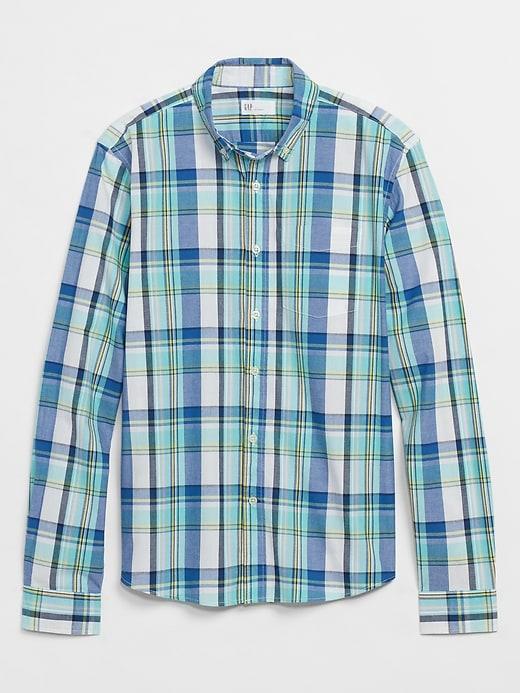 Stretch Poplin Shirt in Untucked Fit
