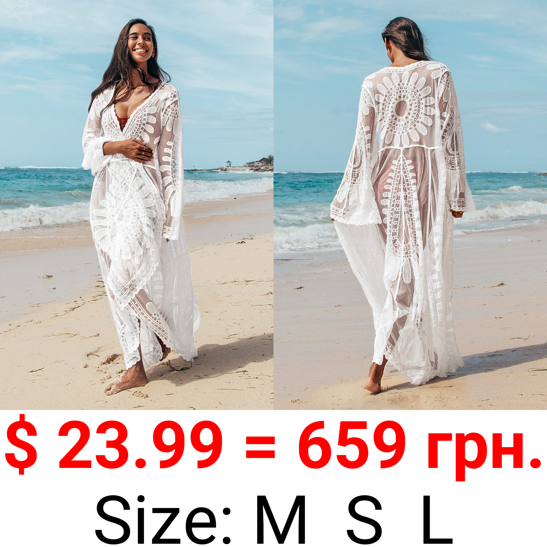 Floral Mesh Long Kimono Cover Up