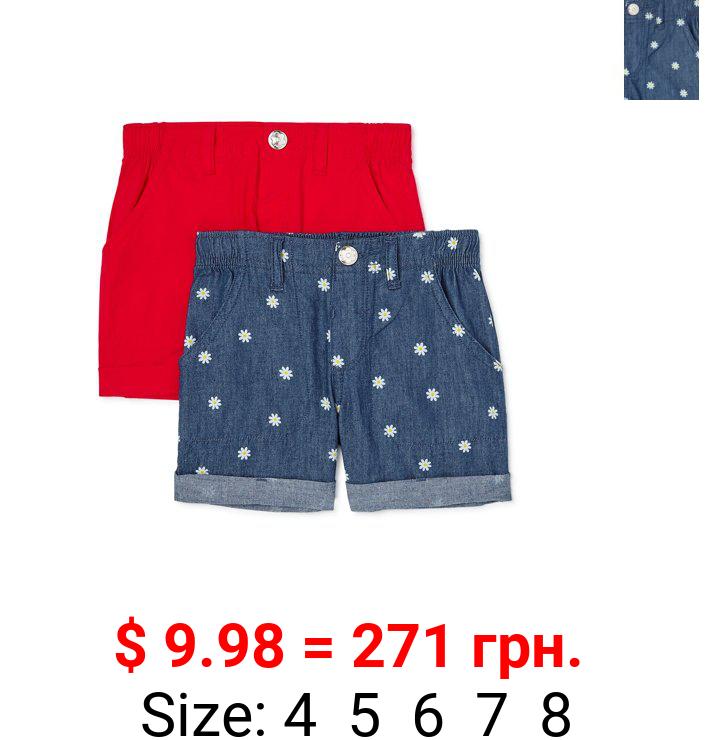 365 Kids From Garanimals Girls Daisy Shorts 2-Pack, Sizes 4-10