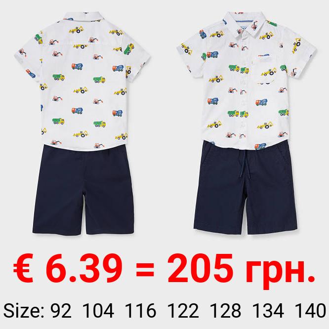 Set - Hemd und Shorts - Leinen-Mix