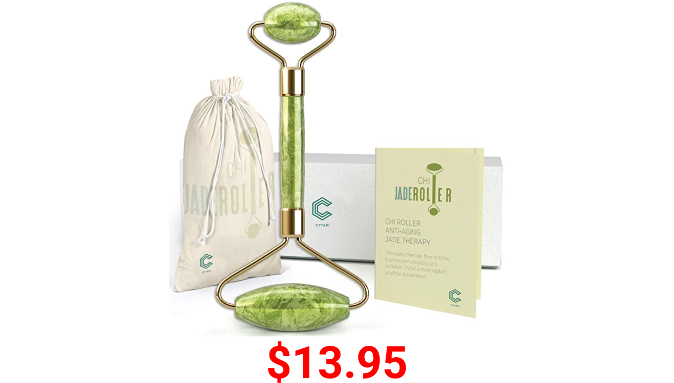 Cytari Chi Jade Rolling Kit 100% Natural Jade Roller | Anti Aging Massage and Lymph Drainage Tool for , Eye, Neck, Body |Wrinkles, and Fine Lines