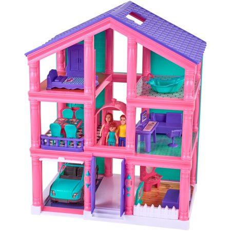 Kid Connection 3-Story Dollhouse Play Set with Working Garage and Elevator, 24 Pieces