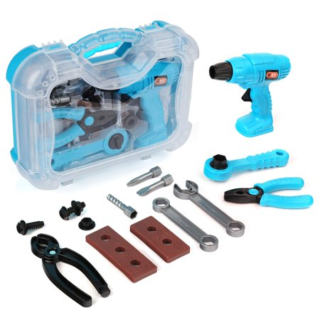 Toy Tool Set for Kids, Children Play Pretend Toy Kit Set for Boys, Gift Workbench Construction Workshop Toolbox Tools for boys Girls, 14 Pcs