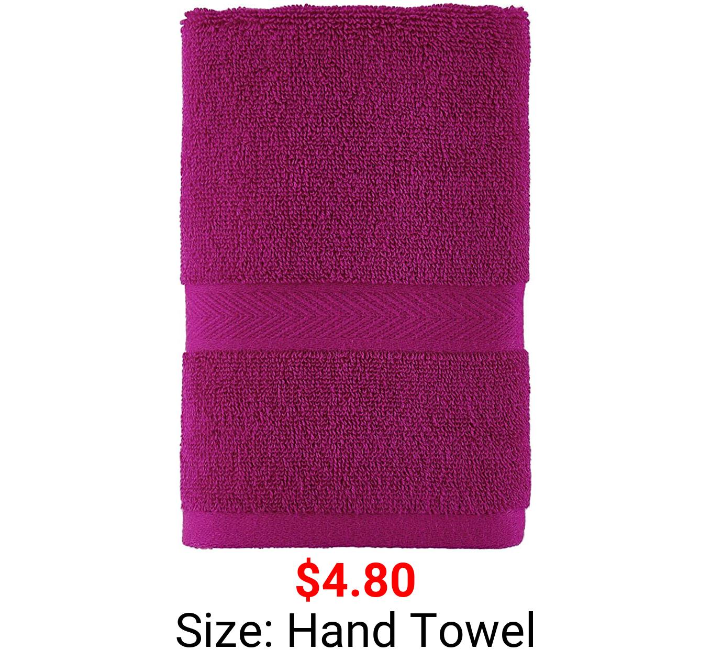 Tommy Hilfiger 100% Cotton Modern American Hand Towel, 16 x 26 inch, Raspberry Rose