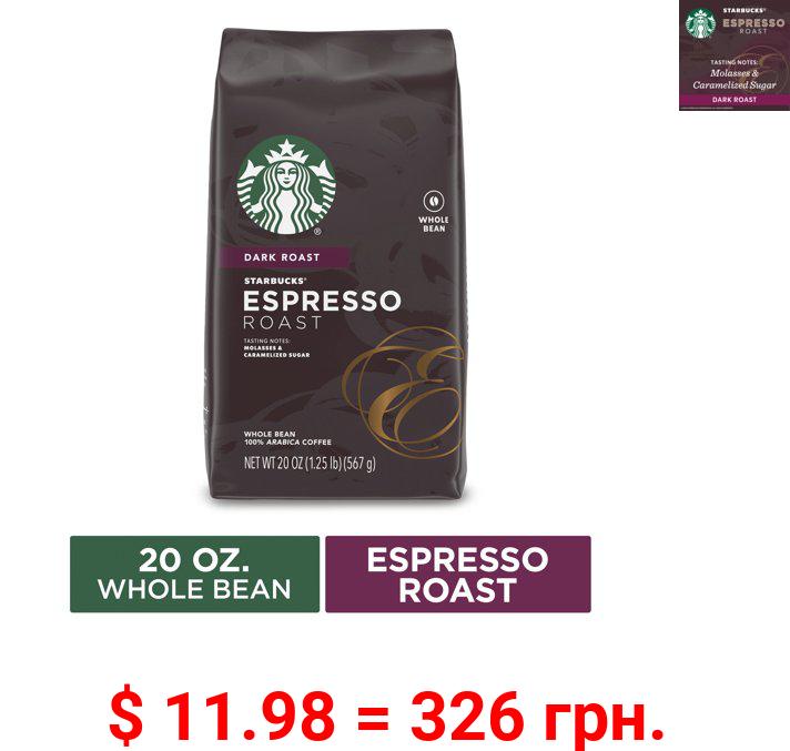 Starbucks Dark Roast Whole Bean Coffee — Espresso Roast — 1 bag (20 oz.)