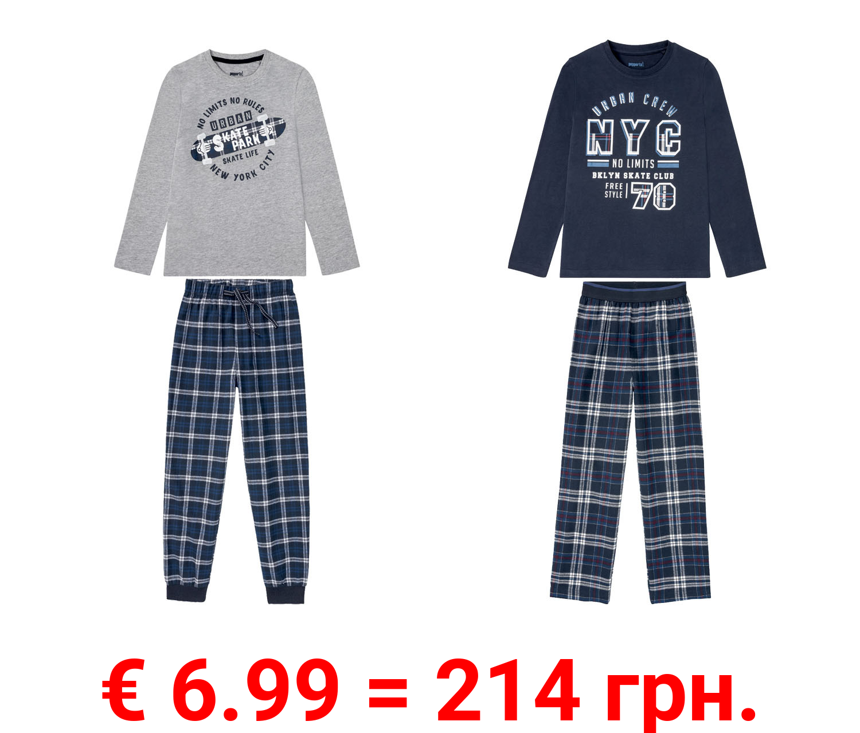 PEPPERTS® Pyjama Wirk / Flanell Jungen, mit coolem Print