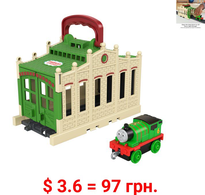 Thomas & Friends Connect & Go Percy Train Engine And Shed