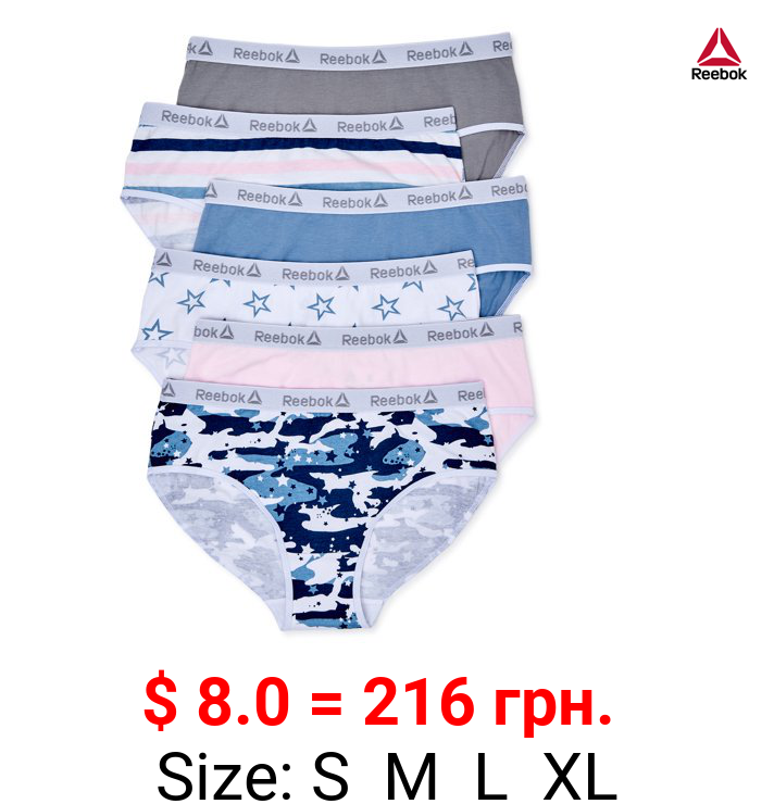 Reebok Girls Underwear Cotton Stretch Hipster Panties, 6-Pack, Sizes S-XL