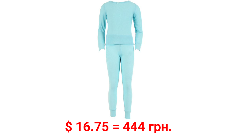 SLM Therma Tek Girl's Cotton Waffle Knit Thermal Long Underwear, 2 Piece Lightweight Set-Small-Light Blue