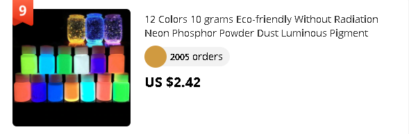 12 Colors 10 grams Eco-friendly Without Radiation Neon Phosphor Powder Dust Luminous Pigment Fluorescent Powder Glow in the Dark