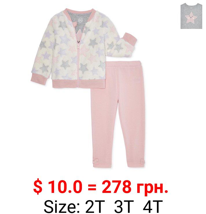 Wonder Nation Toddler Girl Minky Jacket, T-shirt & Pants, 3pc Outfit Set (2T-5T)