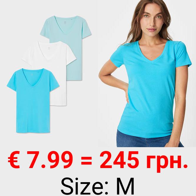 Multipack 3er - Basic-T-Shirt - Bio-Baumwolle