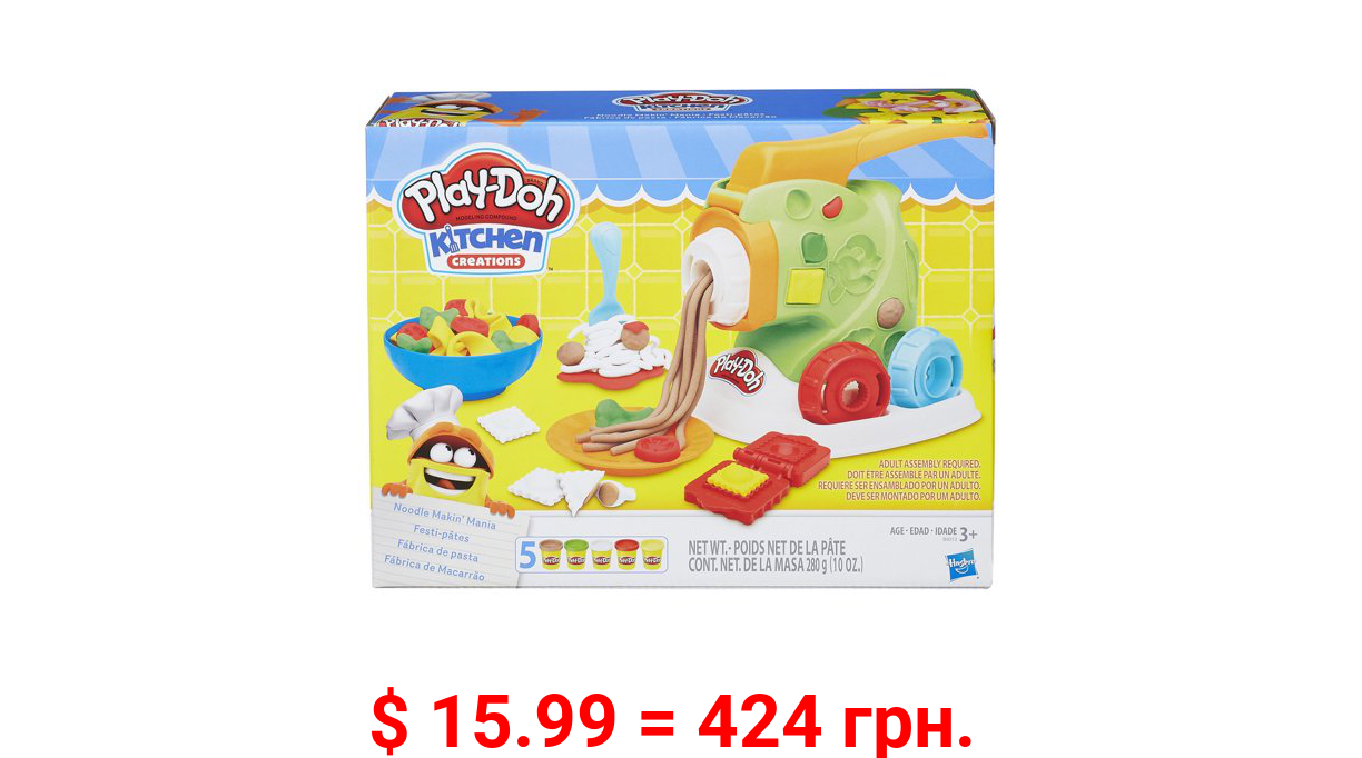 Play-Doh Kitchen Creations Noodle Makin' Mania Food Set with 5 Cans of Play-Doh