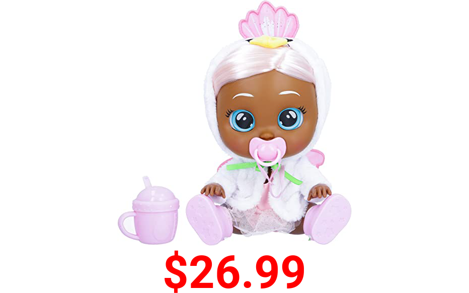 """Cry Babies Kiss Me Daphne - 12"""" Baby Doll   Deluxe Blushing Cheeks Feature   Shimmery Changeable Outfit with Bonus Baby Bottle"""