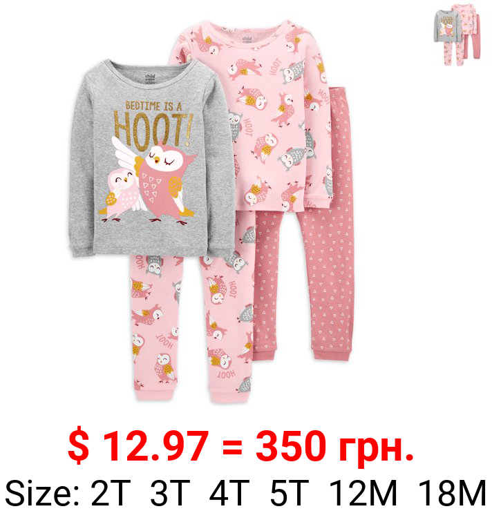 Child of Mine By Carter's Baby Girls & Toddler Girls Snug Fit Cotton Long Sleeve Pajamas 4pc Set (12M-5T)