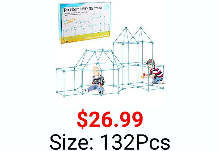JIMI Fort Building Kit 132 Piece, Kids Construction Forts Builder Fun Fort Making Kit Play Tents for Kid STEM Creative Toys Indoor and Outdoor Gifts