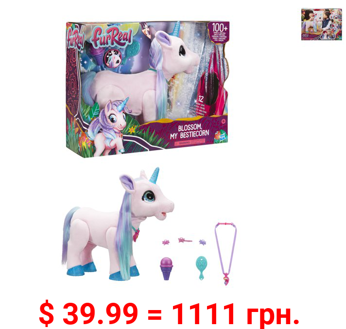 furReal Blossom My Bestiecorn Interactive Plush Pet Toy, 100+ Sounds & Reactions