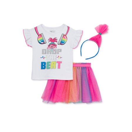 Trolls by Dreamworks Baby & Toddler Girl T-shirt, Skirt & Headband, 3pc Outfit Set