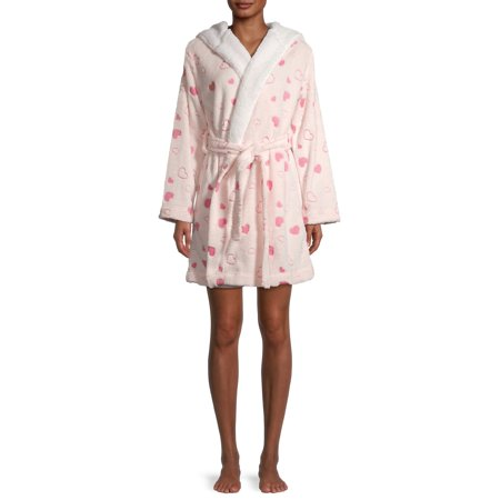 Sleep & Co Women's and Women's Plus Plush Robe with Tie Belt and Faux Sherpa Lining