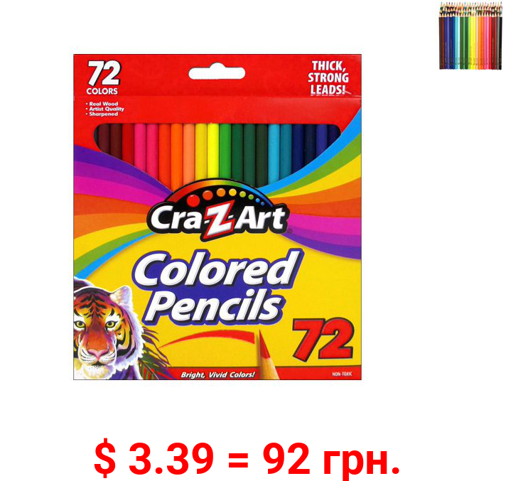 Cra-Z-Art Real Wood, Pre-sharpened Strong Colored Pencils, 72 Count, Beginner to Expert, All Ages from 3 - 99