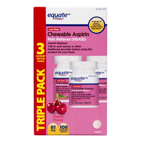Equate Low Dose Chewable Aspirin Tablets, Cherry Flavor, 36 Count, 3 Pack